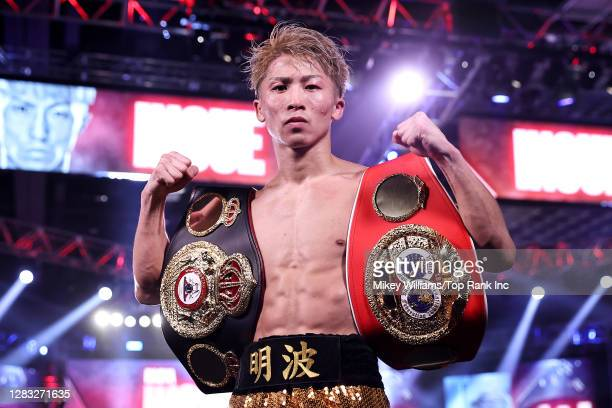 Naoya Inoue celebrates defeating Jason Moloney in their bantamweight title bout at MGM Grand Conference Center on October 31, 2020 in Las Vegas,...