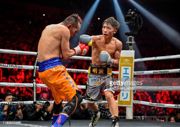 TOPSHOT Naoya Inoue of Japan and Nonito Donaire of Philippines fight in their World Boxing Super Series bantamweight final at Saitama Super Arena in...