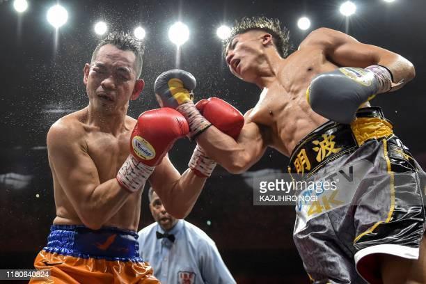 Naoya Inoue of Japan and Nonito Donaire of Philippines fight in their World Boxing Super Series bantamweight final at Saitama Super Arena in Saitama...