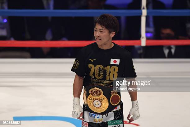 Naoya Inoue of Japan celebrates after defeating Champion Jamie McDonnell of Great Britain during their WBA Bantamweight Title Bout at OtaCity General...