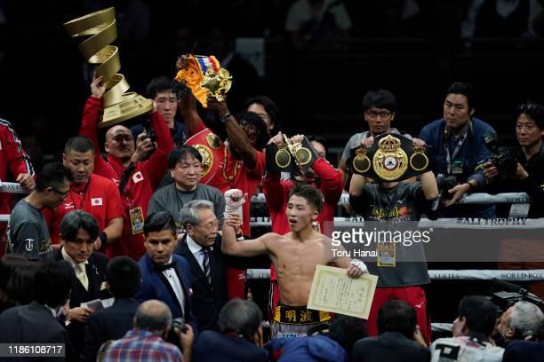 Naoya Inoue of Japan celebrates after defeating Nonito Donaire of the Philippines at the WBSS Bantamweight Final at Saitama Super Arena on November...