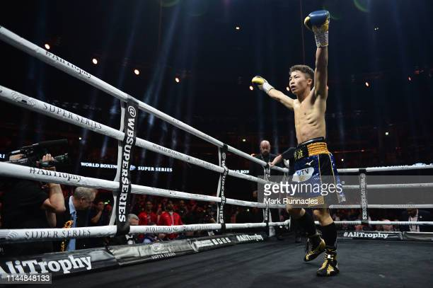 Naoya Inoue of Japan celebrates as he beats Emmanuel Rodriguez of Puerto Rico during the WBSS Bantamweight Semi Final IBF World Championship fight at...