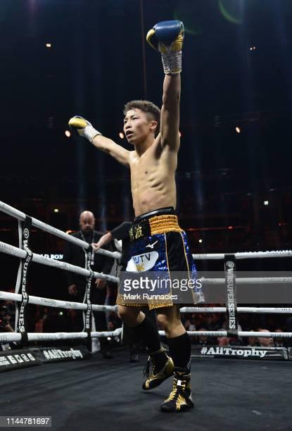 Naoya Inoue of Japan celebrates as he knock down Emmanuel Rodriguez of Puerto Rico during the WBSS Bantamweight Semi Final IBF World Championship...