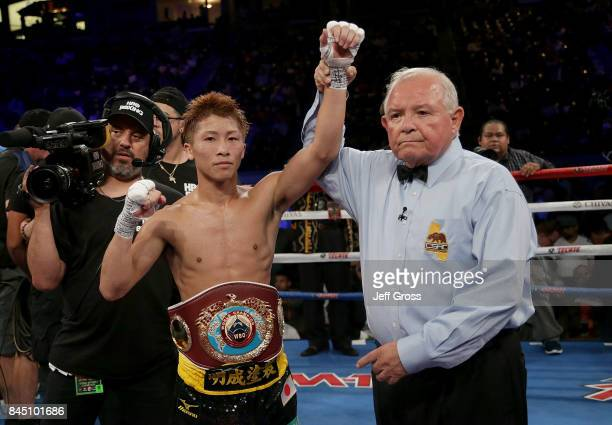 Naoya Inoue of Japan celebrates his victory over Antonio Nieves at StubHub Center on September 9 2017 in Carson California