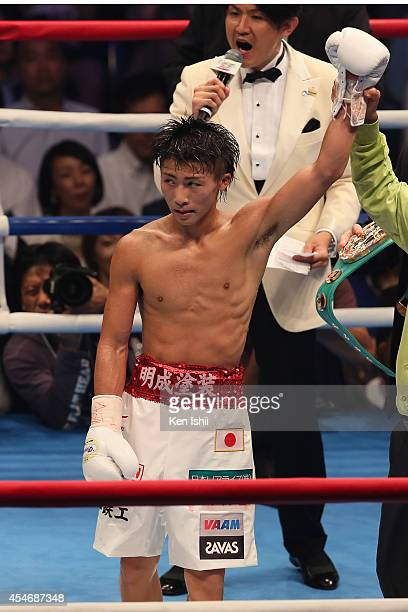 Naoya Inoue of Japan celebrates his winning over Samartlek Kokietgym of Thailand during the WBC light flyweight title bout between Naoya Inoue of...