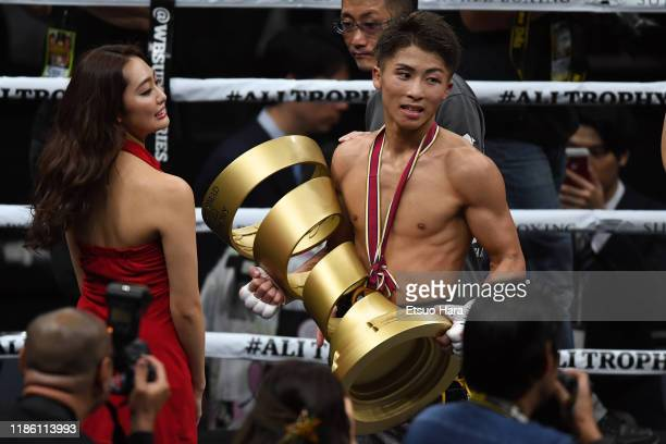 Naoya Inoue of Japan celebrates with the Muhammad Ali Trophy after the WBSS Bantamweight Final at Saitama Super Arena on November 07 2019 in Saitama...