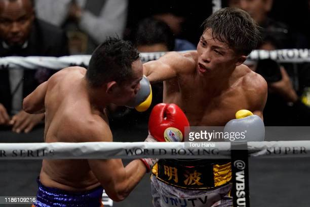 Naoya Inoue of Japan competes against Nonito Donaire of the Philippines during the WBSS Bantamweight Final at Saitama Super Arena on November 07 2019...