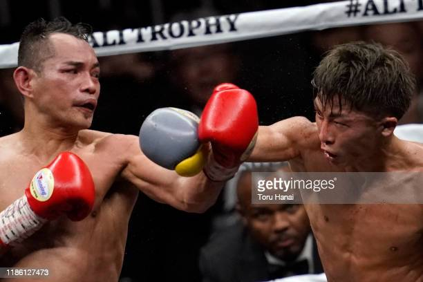 Naoya Inoue of Japan competes against Nonito Donaire of the Philippines during the WBSS Bantamweight Final at Saitama Super Arena on November 07,...