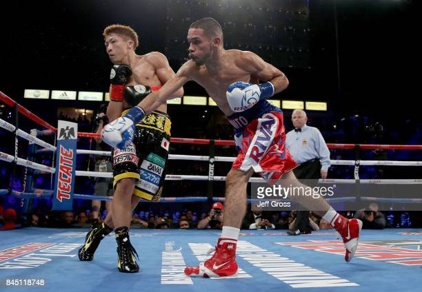 Naoya Inoue of Japan dodges a right hand from Antonio Nieves at StubHub Center on September 9 2017 in Carson California