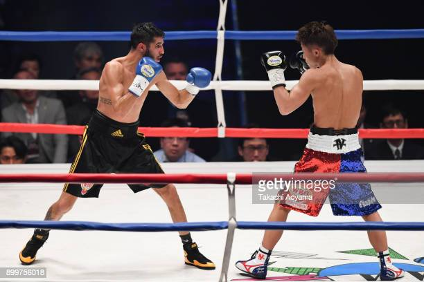 Naoya Inoue of Japan faces Yoan Boyeaux of France during their WBO Super Flyweight Title Bout at the Yokohama Cultural Gymnasium on December 30 2017...