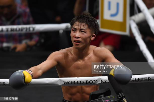 Naoya Inoue of Japan reacts in the bout against Nonito Donaire of Philippines during the WBSS Bantamweight Final at Saitama Super Arena on November...
