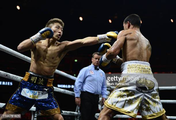 Naoya Inoue of Japan takes on Emmanuel Rodriguez of Puerto Rico during the WBSS Bantamweight Semi Final IBF World Championship fight at the Muhammad...
