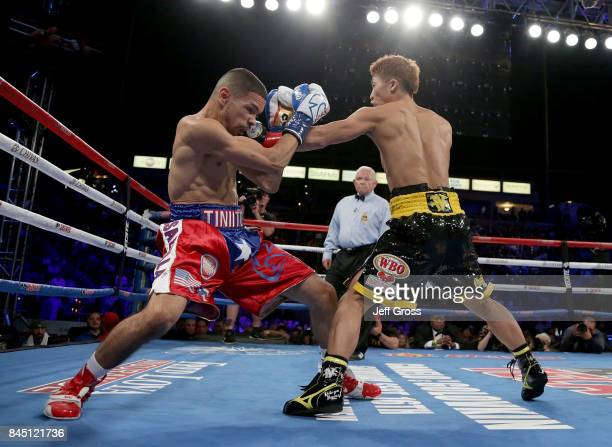 Naoya Inoue of Japan throws a left hand to the head of Antonio Nieves at StubHub Center on September 9 2017 in Carson California