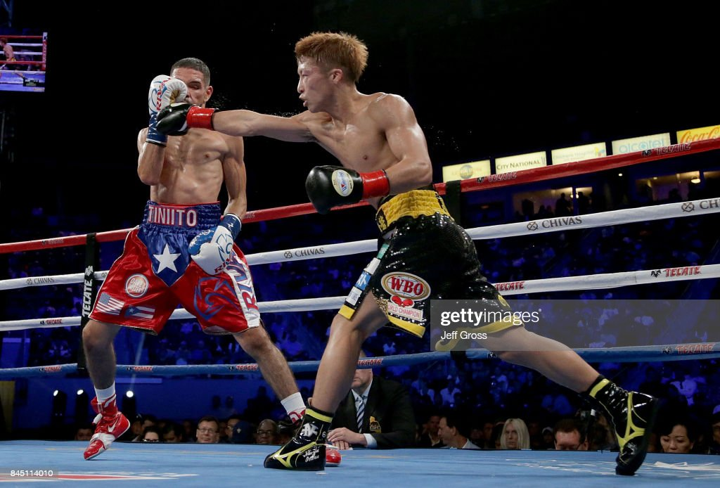 Naoya Inoue of Japan throws a right hand at Antonio Nieves at StubHub Center on September 9, 2017 in Carson, California.