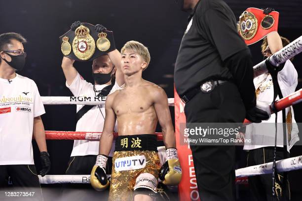 Naoya Inoue prepares to face Jason Moloney in their bantamweight title bout at MGM Grand Conference Center on October 31, 2020 in Las Vegas, Nevada.