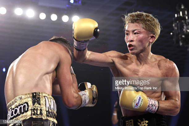 Naoya Inoue punches Jason Moloney during their bantamweight title bout at MGM Grand Conference Center on October 31, 2020 in Las Vegas, Nevada.