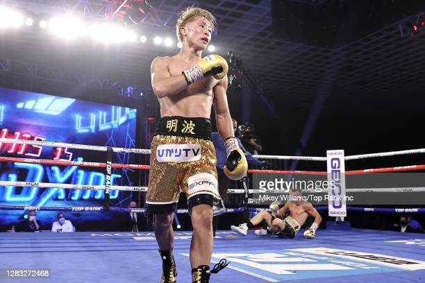 Naoya Inoue reacts after knocking down Jason Moloney during their bantamweight title bout at MGM Grand Conference Center on October 31, 2020 in Las...