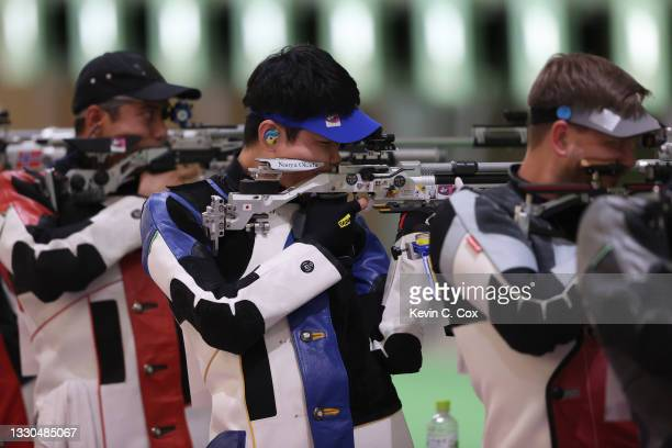 Naoya Okada of Team Japan during the 10m Air Rifle Men's event on day two of the Tokyo 2020 Olympic Games at Asaka Shooting Range on July 25, 2021 in...