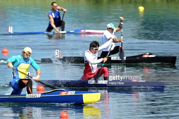 Naoya Sakamoto of Japan and Yuri Cheban of Ukraine competes in the Men's Canoe Single 200m Sprint semifanals on Day 14 of the London 2012 Olympic...