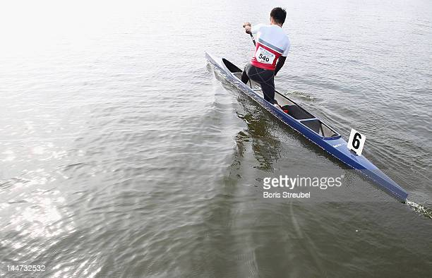 Naoya Sakamoto of Japan canoes out for the men's canadian single 500m heat during day one of the ICF Canoe Sprint World Cup 2012 at Malta Regatta...