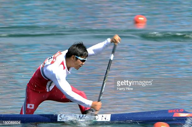 Naoya Sakamoto of Japan competes in the Men's Canoe Single 200m Sprint semifanals on Day 14 of the London 2012 Olympic Games at Eton Dorney on August...