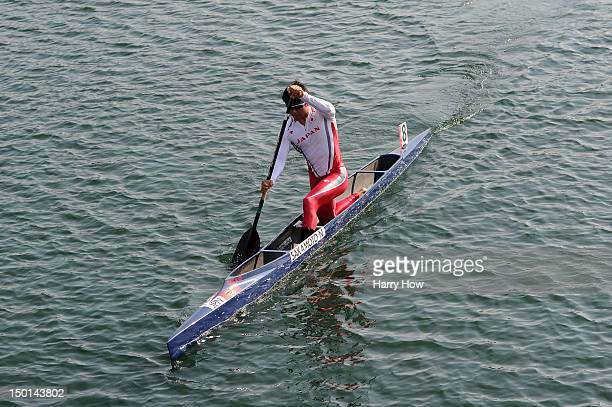 Naoya Sakamoto of Japan warms up ahead of the Men's Canoe Single 200m Sprint on Day 15 of the London 2012 Olympic Games at Eton Dorney on August 11...
