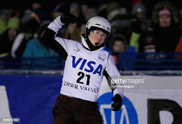 Naoya Tabara of Japan celebrates after landing a jump for third place during the final round in the FIS Freestyle Skiing Aerial World Cup at the Visa...