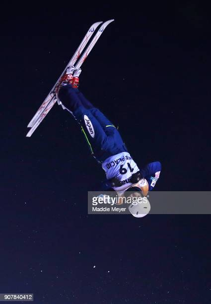 Naoya Tabara of Japan jumps during the Mens Qualifying round of the Putnam Freestyle World Cup at the Lake Placid Olympic Ski Jumping Complex on...