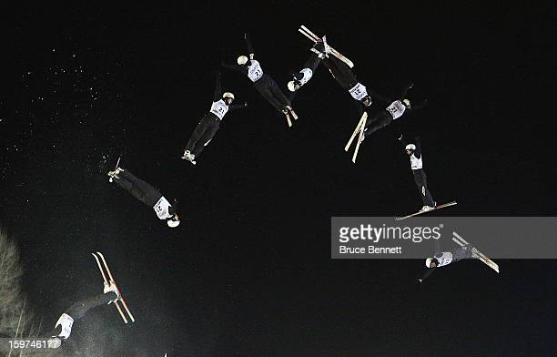 Naoya Tabara of Japan jumps in the qualification round of the USANA Freestyle World Cup aerial competition at the Lake Placid Olympic Jumping Complex...