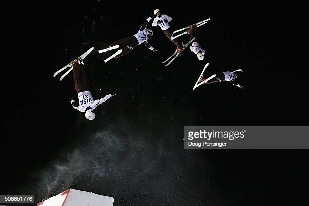 Naoya Tabara of Japan jumps to third place in the men's FIS Freestyle Skiing Aerials World Cup at Deer Valley on February 5 2016 in Park City Utah