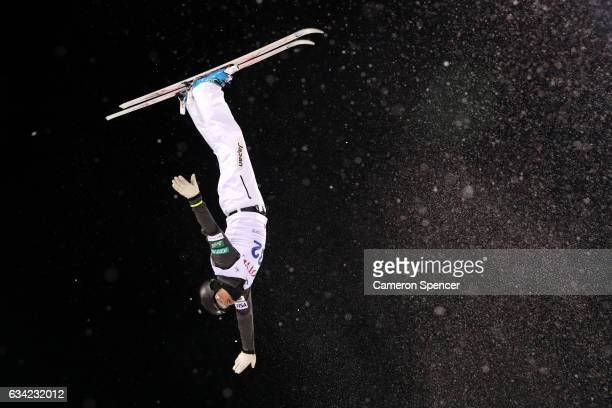 Naoya Tabara of Japan performs an aerial during an Aerials training session prior to the FIS Freestyle World Cup at Bokwang Snow Park on February 8...