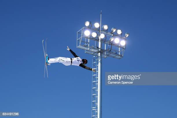 Naoya Tabara of Japan performs an aerial during qualification in the FIS Freestyle Ski World Cup 2016/17 Mens Aerials at Bokwang Snow Park on...