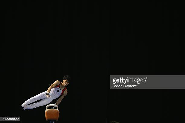 Naoya Tsukahara of Queensland competes in the pommel horse event during the Australian National Gymnastics Championships at Hisense Arena on May 23,...
