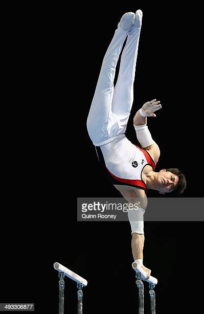 Naoya Tsukahara of Queensland performs on the Parrallel Bars during the Australian National Gymnastics Championships at Hisense Arena on May 23, 2014...