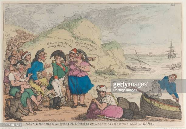 Nap Dreading His Doleful Doom or His Grand Entry in the Isle of Elba April 20 1814 Artist Thomas Rowlandson