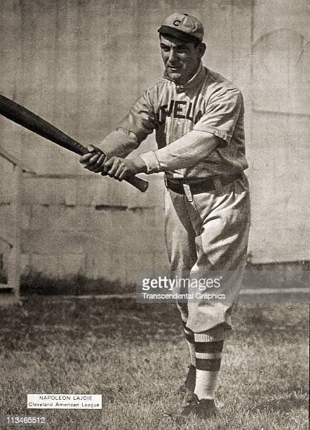 Nap Lajoie of the Cleveland club appears on a premium issued by the Sporting News circa 1909 in St Louis Missouri