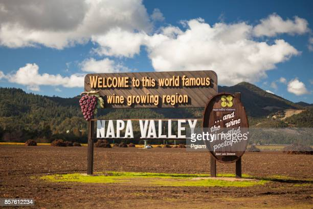 napa california usa welcome sign at a winery - napa valley stock pictures, royalty-free photos & images