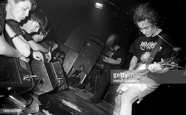 Napalm Death perform on stage at the ICA, London, United Kingdom, 1990.