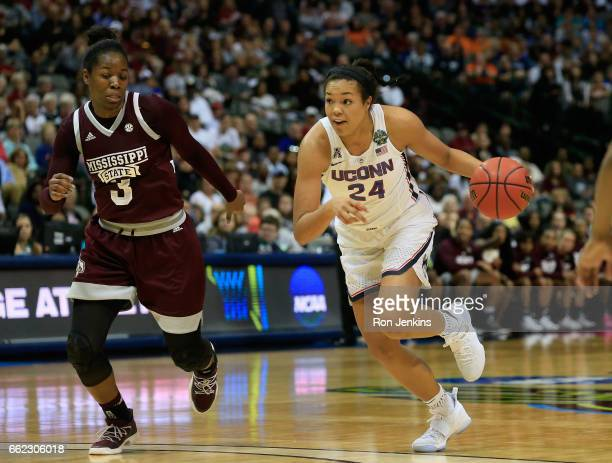Napheesa Collier of the Connecticut Huskies drives against Breanna Richardson of the Mississippi State Lady Bulldogs in the third quarter during the...