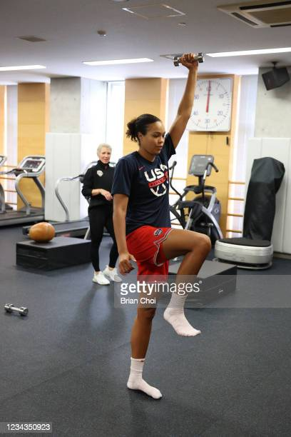 Napheesa Collier of the USA Women's National Team lifts weights during the USA Basketball Womens National Team practice on July 29, 2021 in Tokyo,...