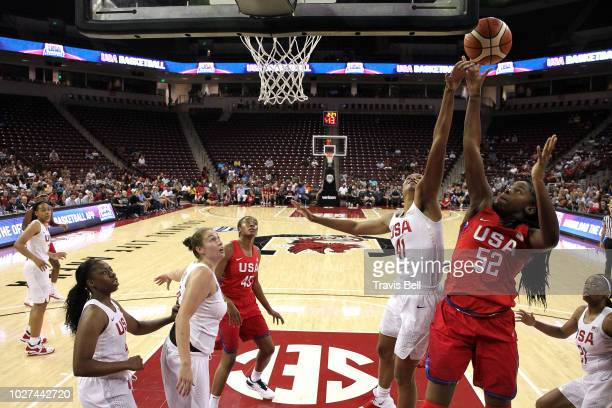 Napheesa Collier USA White and Ruthy Hebard of USA Red reach for the rebound during an exhibition game on September 5, 2018 at the University of...