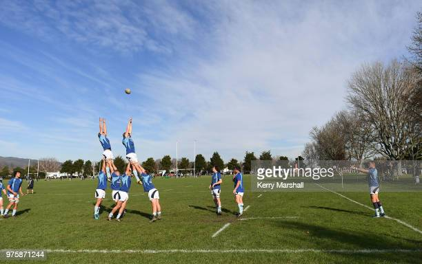 Napier Boys High School players warm up before the Schools Super 8 match between Hastings Boys High and Napier Boys High at Hastings Boys High School...