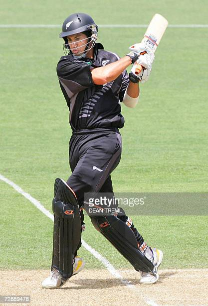 New Zealand's Ross Taylor hits 4 runs on his way to an unbeaten 128 during the 1st One Day International match between the New Zealand Black Caps and...