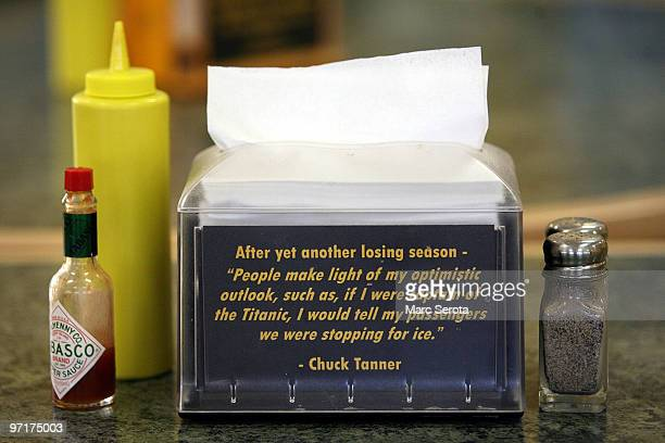 A napkin holder in the Pirtes lunch room holds a quote from former manager Chuck Tanner about the Pittsburgh Pirates who now hold the consecutive...