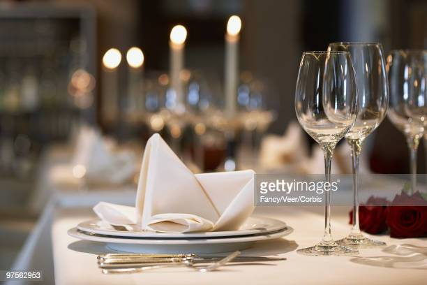 napkin on plate at elegant place setting - estereótipo de classe alta - fotografias e filmes do acervo
