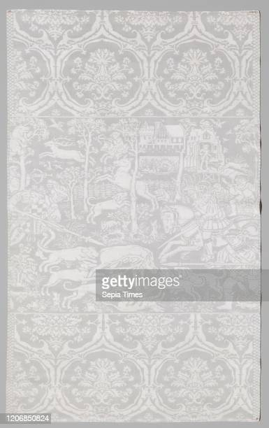 Napkin with a hunting scene, Napkin of linen damask with a hunting scene. Midfield: top left rider with longbow shooting at deer, far left: tree in...