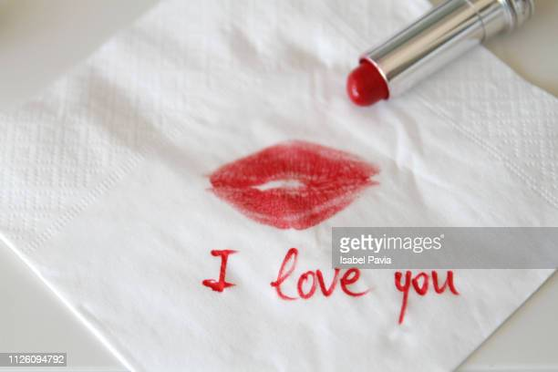 Napkin With Lipstick Kiss And I love You  Message