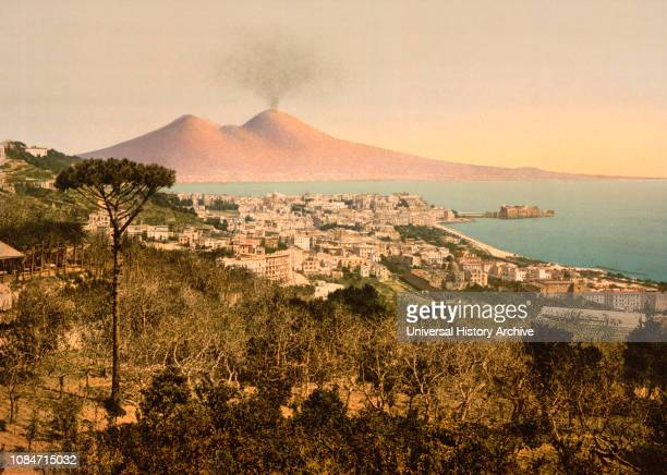 Naples and Mount Vesuvius Italy Photochrome Print Detroit Publishing Company 1900