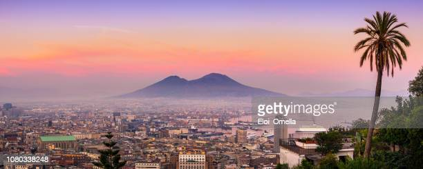 naples and vesuvius at sunset. italy - napoli stock pictures, royalty-free photos & images