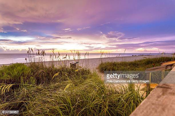 naples beach shore and calm ocean, florida - gulf coast states stockfoto's en -beelden